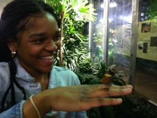 Siani laughing w butterfly