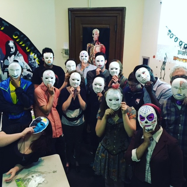 Out4STEM Students showing off their masks at the Masquerade 2015