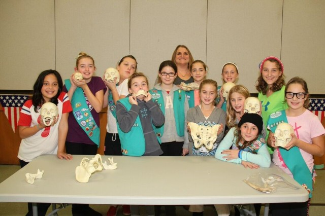 """A Troop of Girl Scouts learn about forensic anthropology during our """"Bone Detectives"""" activity"""