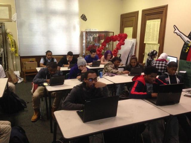 Philadelphia teens learning to program during the Hour of Code