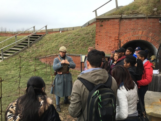 Our students learn about the Battle of Verdun from a french re-enactor at Fort Mifflin