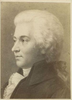 Black & white portrait of Mozart