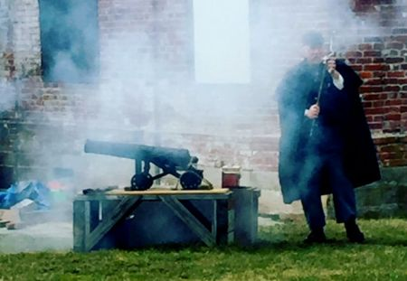 Cannon firing demonstration at Fort Mifflin