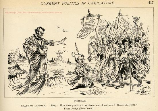 "1896 Political cartoon against William Jennings Bryan where the spirit of Lincoln halts diminutive Bryan and his followers on their ""path to national destruction."" Image Source: The Ohio State University Cartoon Research Library"
