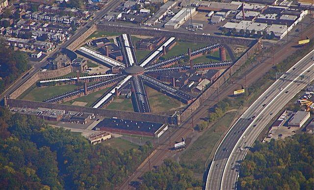 Aerial image of Holmesburg prison, Philadelphia