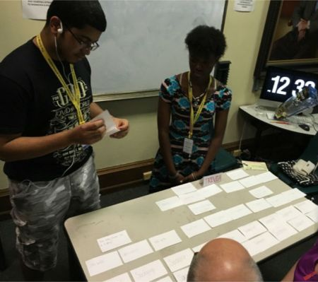 Students in the Karabots Junior Fellows Program demonstrate a game on forensics they designed to visitors to the Mütter Museum
