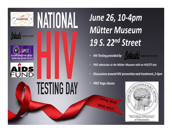 Flyer for National HIV Testing Day at the College of Physicians of Philadelphia