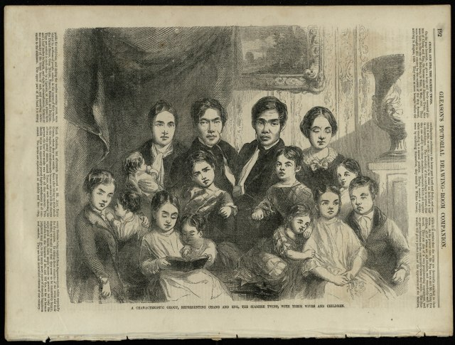 Image of Chang and Eng and their families