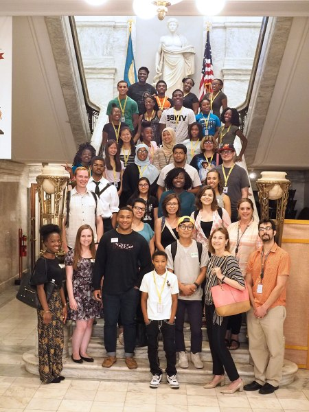 Students from the Karabots Junior Fellows and SUMR Scholars programs pose on the marble staircase at the College of Physicians of Philadelphia