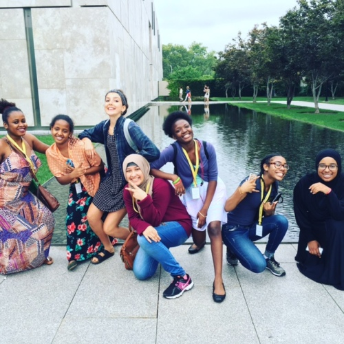 Philadelphia youth from CEPI's Karabots Junior Fellows Program and Teva Pharmaceutivals Internship Program pose in front of the entrance to the Barnes Foundation
