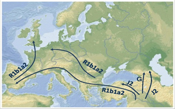 Map of Europe displaying migration patterns for humans with the R1b1a2 (blue-eyed) gene