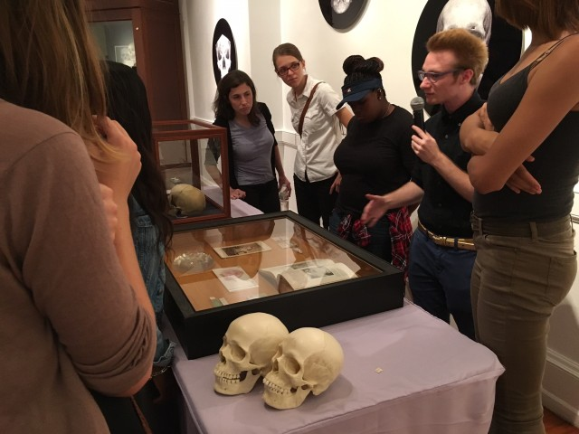 """Mütter Museum tour guide Tosef Miller delivers a tour on the social construction of gender at the the Out@Mütter event """"Bones Are Not Binary"""""""