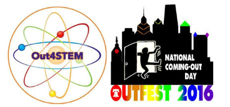 Logos of Out4STEM and OutFest 2016 side by side.