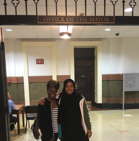 Karabots Junior Fellows Sheila and Hanaa pose at the Mayor's Office at Philadelphia City Hall