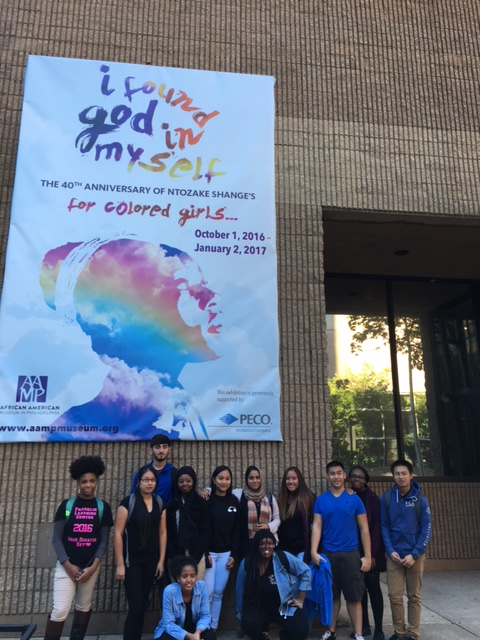 Students in the Teva Pharmaceuticals Internship Program pose in front of the African American Museum in Philadelphia on October 6, 2016