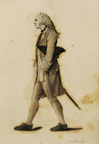 Caricature of a miserly man, from Johann Kasper Lavater's Essays in Physiognomy