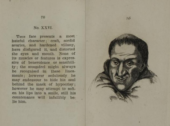 An image of a face depicted in the physiognomy book titled The Pocket Lavater. The face was to represent cruelty and deception.