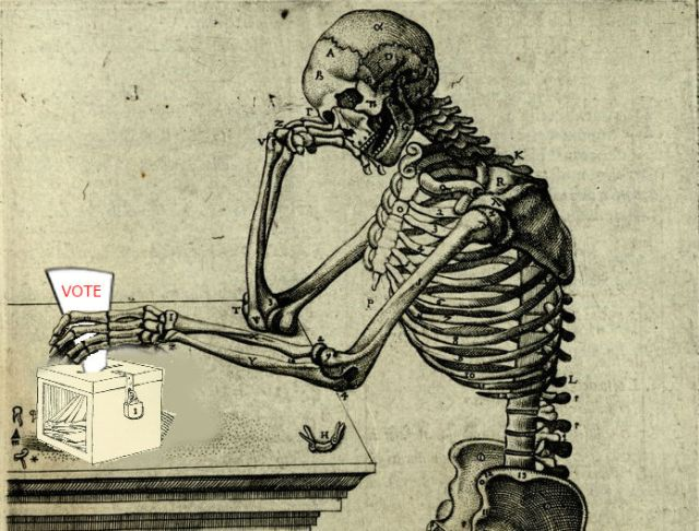 Logo for Project Voice: a skeleton from a Vesalius image lost in thought as it casts a vote into a ballot box.