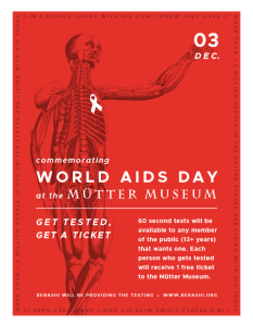 Promotional flyer for World AIDS Day 2016 at the Mütter Museum, December 3, 2016