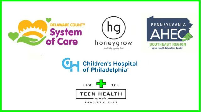 Image displaying the logos of the sponsors for Teen Health Week: Pennsylvania Southeast Region Area Health Education Center (AHEC); System of Care, a program of the Delaware County Department of Human Services; the Craig Dalsimer Division of Adolescent Medicine, Children's Hospital of Philadelphia; and Honeygrow.