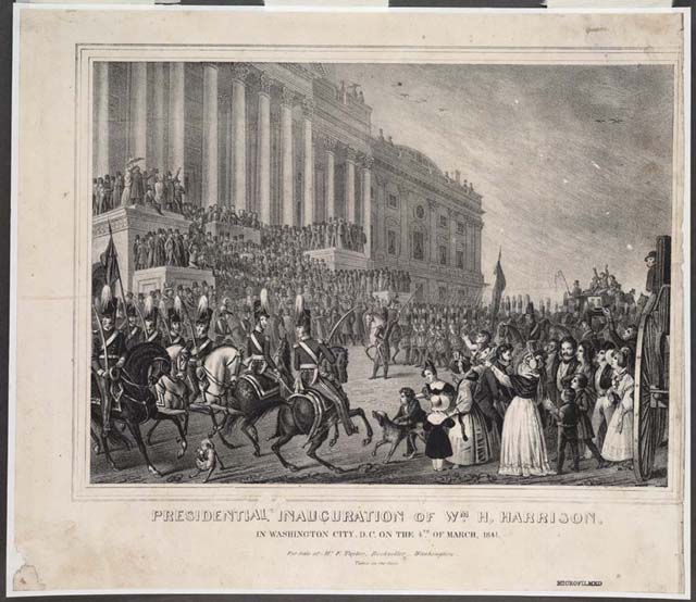 Lithograph depicting the inuaguration of William Henry Harrison