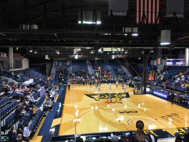 The basketball court at the Daskalakis Athletic Center prior to the Drexel men's basketball game against Towson on February 11.