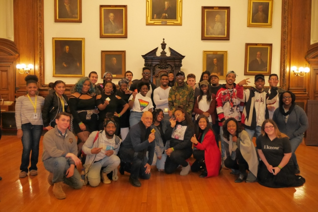 Group photo of Philly teens, students in the Teva and Out4STEM programs, artists from New Wave, and Dr. Loren Robinson and Senator Vincent Hughes at the 2017 National Black HIV/AIDS Awareness Day at the Mütter Museum on February 11, 2017