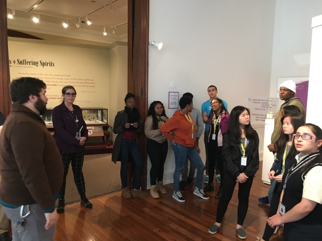 The Karabots Junior Fellows meet with Mütter Museum exhibit developer Michael Keys to discuss the Museum's new exhibit: Imperfecta