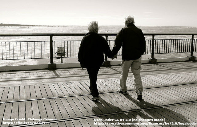 Image of a couple holding hands on a boardwalk while looking out at the ocean