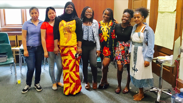 Students in the Girls One Diaspora Club pose together