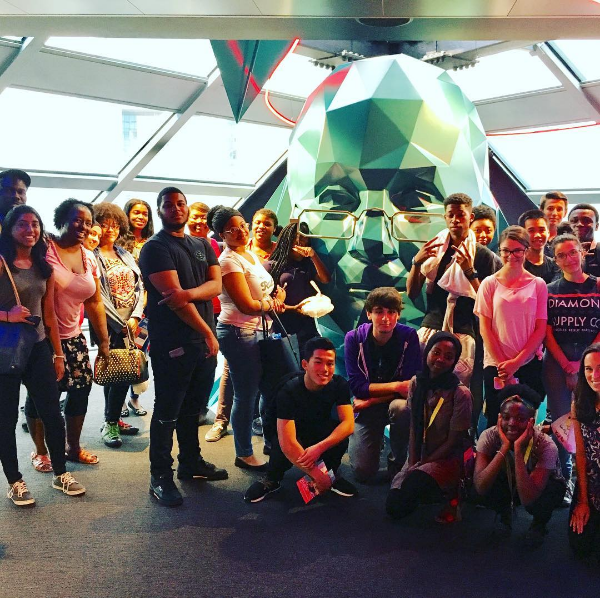 Students in the Teva Pharmaceuticals Internship Program pose in the Liberty Place Observation Deck