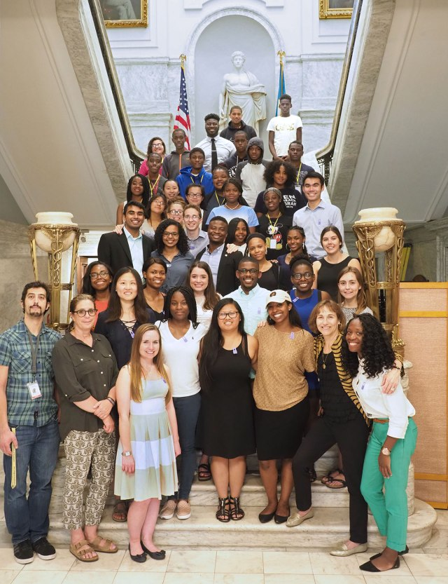 Students in the Karabots Junior Fellows and Penn SUMR Scholars Programs pose on the marble staircase at the College of Physicians of Philadelphia