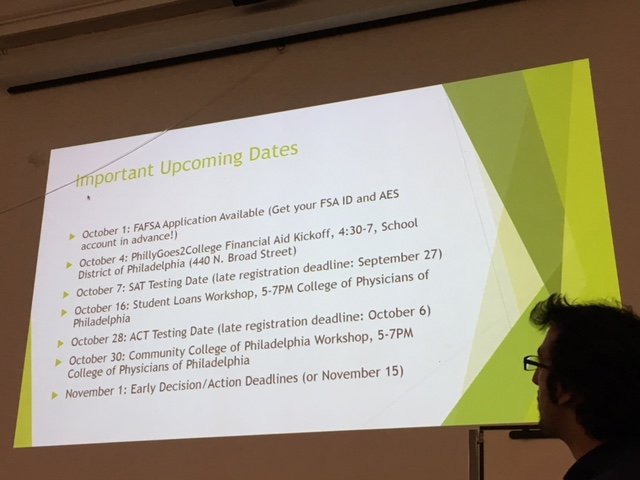 Youth Program Coordinator Kevin Impellizeri introduces students to upcoming college preparation dates