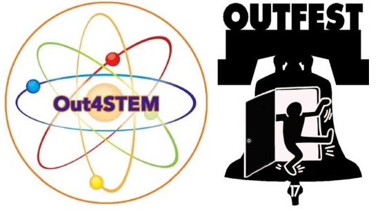 Side-by-Side logos for Out4STEM (left) and OutFest Philly 2017 (right)