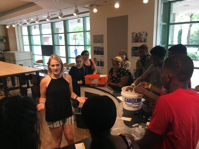 Students in the Karabots Junior Fellows Program take part in the Ecology of the Delaware lesson at the Independence Seaport Museum