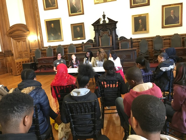 Panelists speak to Philadelphia high school students at the College of Physicians of Philadelphia
