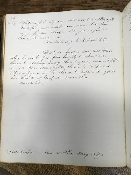 Page from Taunton Lunatic Asylum casebook (1854 - 1868), MSS 6/011, Historical Medical Library of The College of Physicians of Philadelphia.