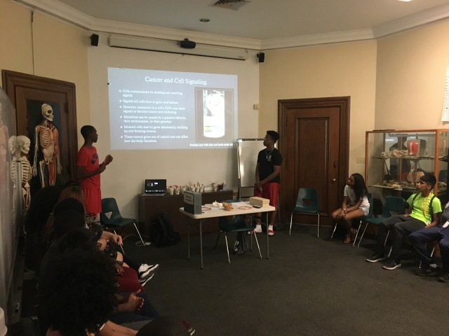 Lamina and Chaka, students in the Karabots Junior Fellows Program, deliver a lesson on cancer to students in the latest cohort in the program