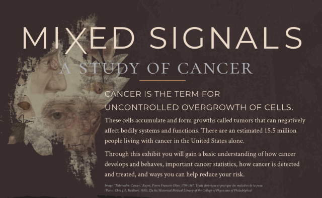 Main exhibit label for Mixed Signals: A Study of Cancer