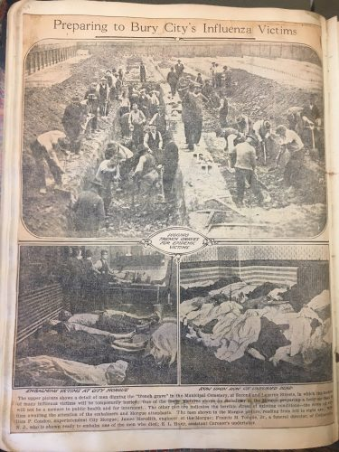 An October 1918 newspaper page with photos of men digging trenches for mass graves for influenza victims and photos of bodies piled in the Philadelphia coroner's office