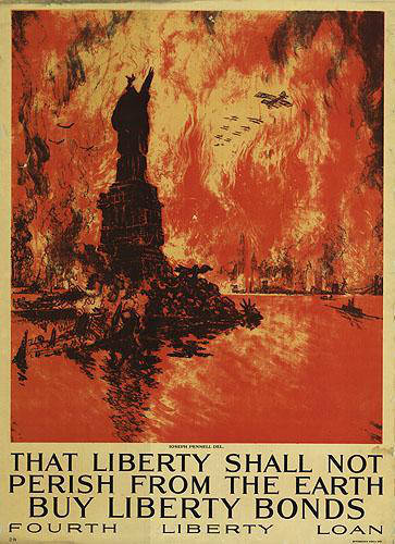 """Poster depicting the Statue of Liberty in Flames with the caption """"That liberty shall not perish from the Earth. Buy Liberty Bonds. Fourth Liberty Loan."""