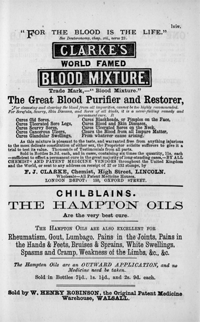 1975 advertisement for Clarke's World Famous Blood Mixture. teh ad boast the mixture can cure skin conditions, cancerous ulcers, impure blood, and any other other ailment
