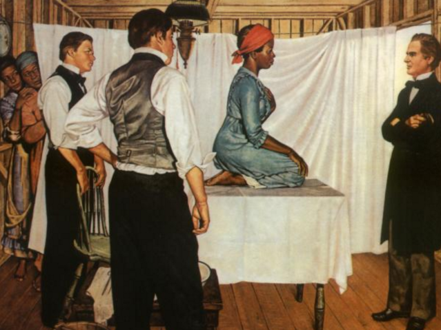 "Portrait titled ""Illustration of Dr. J. Marion Sims with Anarcha."" An African American woman (Anarcha) kneels on a table covered in a white sheet. Around her are three white men (one on the right [Sims] and two on the left) looking at her. To the left of the portrait, two African American women look on from behind a white sheet."