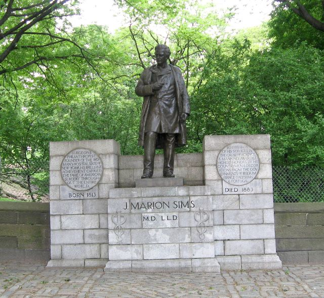 Photograph of a statue of J. Marion Sims atop a stone pedestal