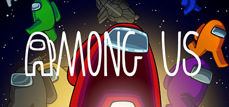 The title text for Among Us with seven vaguely humanoid shaped characters, each colored green, black, yellow, red, purple, orange, and blue floating through space.