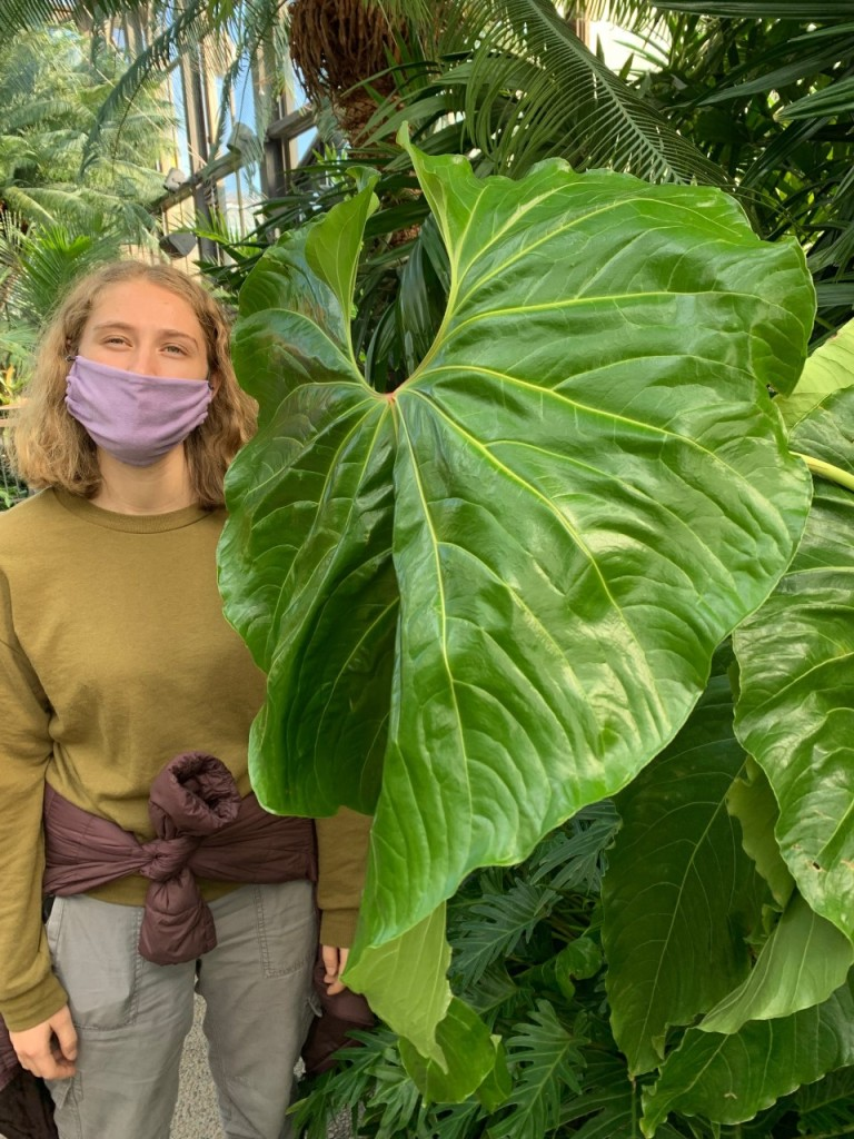 A blonde-haired White woman with a purple facemark stands next to a large leaf