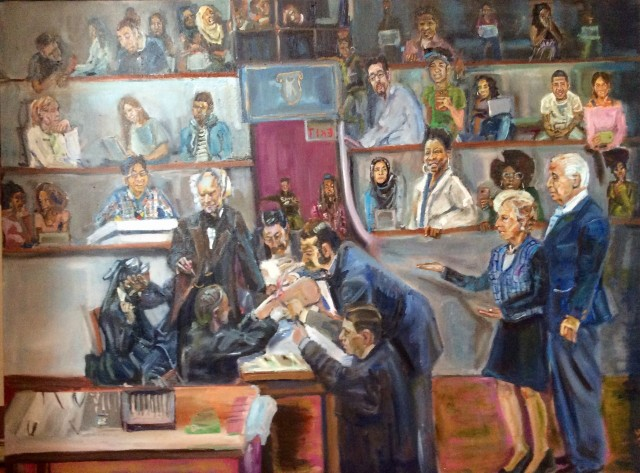 Portrait of an operating theater with teenagers observing in the seats as a physician in a suit performs an anatomical dissection assisted by several attendants. At the right are an elderly White couple, man and woman.