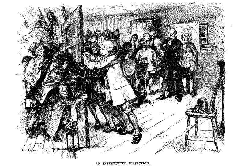 A crowd of people try to force their way into a room where a surgery is taking place. Men inside the room push on a door, holding back a crowd.